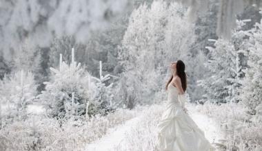 Платье для свадьбы в зимнее время